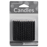 Creative Converting 10131 Black Candles   - 24/Pack
