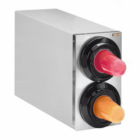 Tomlinson 1015909 Simpli-Flex 2100 Stainless Steel 2-Slot 3.5 - 44 oz. Countertop Cup Dispenser Cabinet