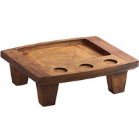 Valor 14 inch x 10 inch x 4 1/2 inch Rubberwood Display Stand with Rustic Chestnut Finish and Sauce Cup Holders
