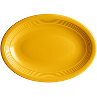 Acopa Capri 9 3/4 inch x 7 inch Mango Orange Oval China Coupe Platter - 12/Case
