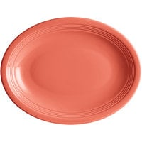 Acopa Capri 11 1/2 inch x 8 3/4 inch Coral Reef Oval China Coupe Platter - 12/Case