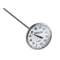 Taylor 6215J 8 inch Superior Grade Instant Read Pocket Probe Dial Thermometer 0 to 220 Degrees Fahrenheit