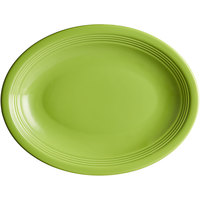 Acopa Capri 11 1/2 inch x 8 3/4 inch Bamboo Green Oval China Coupe Platter   - 12/Case