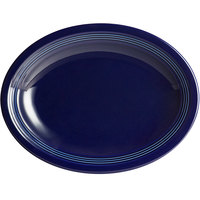 Acopa Capri 11 1/2 inch x 8 3/4 inch Deep Sea Cobalt Oval China Coupe Platter - 12/Case