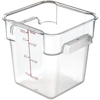 Carlisle 10721AF07 StorPlus Allergen-Free 4 Qt. Clear Square Polycarbonate Food Storage Container with Purple Gradations