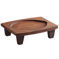 Valor 16 inch x 11 7/8 inch x 4 1/8 inch Rubberwood Display Stand with Rustic Chestnut Finish