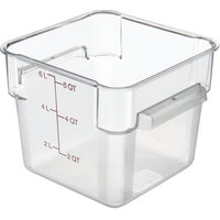 Carlisle 10722AF07 StorPlus Allergen-Free 6 Qt. Clear Square Polycarbonate Food Storage Container with Purple Gradations