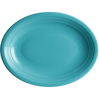 Acopa Capri 11 1/2 inch x 8 3/4 inch Caribbean Turquoise Oval China Coupe Platter - 12/Case