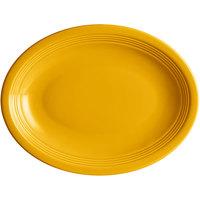 Acopa Capri 11 1/2 inch x 8 3/4 inch Mango Orange Oval China Coupe Platter - 12/Case