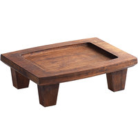 Valor 14 inch x 10 inch x 4 1/2 inch Rubberwood Display Stand with Rustic Chestnut Finish