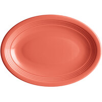 Acopa Capri 9 3/4 inch x 7 inch Coral Reef Oval China Coupe Platter - 12/Case