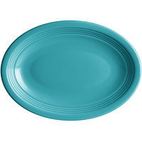 Acopa Capri 9 3/4 inch x 7 inch Caribbean Turquoise Oval China Coupe Platter   - 12/Case