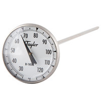 Taylor 6212J 8 inch Superior Grade Instant Read Probe Dial Thermometer 25 to 125 Degrees Fahrenheit