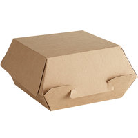 Bagcraft NAT-F443F EcoCraft Eco-Flute 4 inch x 4 inch x 3 inch Kraft Corrugated Clamshell Take-Out Box - 50/Pack