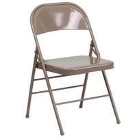 Beige Metal Folding Chair