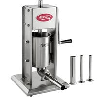 Avantco SS-7V 7 lb. Stainless Steel Vertical Manual Sausage Stuffer with 13, 20, 30, and 40mm Stainless Steel Funnels