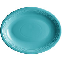 Acopa Capri 13 3/4 inch x 10 1/2 inch Caribbean Turquoise Oval China Coupe Platter - 12/Case