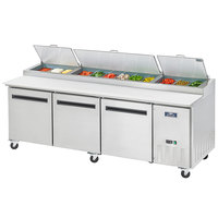 Arctic Air APP94R 94 inch Three Door Pizza Prep Refrigerator Table