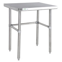 Regency 24 inch x 30 inch 14-Gauge 304 Stainless Steel Commercial Open Base Work Table
