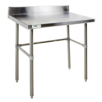 Regency 24 inch x 36 inch 14-Gauge 304 Stainless Steel Commercial Open Base Work Table with 4 inch Backsplash