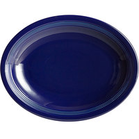 Acopa Capri 13 3/4 inch x 10 1/2 inch Deep Sea Cobalt Oval China Coupe Platter - 12/Case