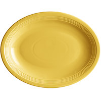 Acopa Capri 13 3/4 inch x 10 1/2 inch Citrus Yellow Oval China Coupe Platter - 12/Case