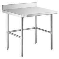 Regency 30 inch x 36 inch 14-Gauge 304 Stainless Steel Commercial Open Base Work Table with 4 inch Backsplash