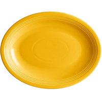 Acopa Capri 13 3/4 inch x 10 1/2 inch Mango Orange Oval China Coupe Platter - 12/Case