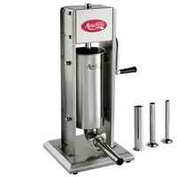 Avantco SS-11V 11 lb. Stainless Steel Vertical Manual Sausage Stuffer with 13, 20, 30, and 40mm Stainless Steel Funnels