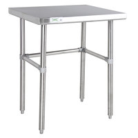 Regency 30 inch x 30 inch 14-Gauge 304 Stainless Steel Commercial Open Base Work Table