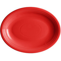 Acopa Capri 13 3/4 inch x 10 1/2 inch Passion Fruit Red Oval China Coupe Platter - 12/Case