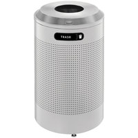 Rubbermaid FGDRR24TSM Silhouettes Silver Metallic Round Recycling Receptacle with Rigid Plastic Liner 26 Gallon (FGDRR24T)