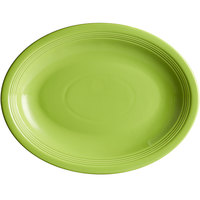 Acopa Capri 13 3/4 inch x 10 1/2 inch Bamboo Green Oval China Coupe Platter - 12/Case