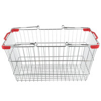 18 inch x 13 inch x 8 inch Chrome Grocery Market Shopping Basket with Red Handles