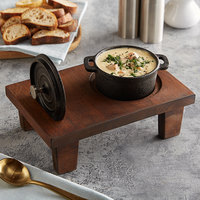 Valor 8 oz. Pre-Seasoned Mini Cast Iron Pot with 9 3/4 inch x 6 1/2 inch x 2 1/2 inch Rustic Chestnut Finish Display Stand