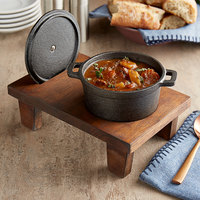Valor 16 oz. Mini Cast Iron Pot with Rustic Chestnut Finish Display Stand