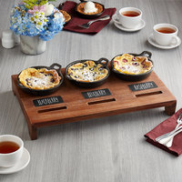 Valor Appetizer / Dessert Sampler with (3) 14 oz. Cast Iron Casserole Dishes, 18 1/2 inch x 11 inch x 2 1/2 inch Rustic Chestnut Finish Display Stand, and Chalk