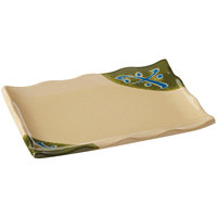 GET 142-24-TD Japanese Traditional Wavy Edge Rectangular Plate 9 1/4 inch x 6 1/2 inch   - 12/Case