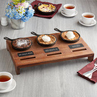 Valor Appetizer / Dessert Sampler with (3) 5 inch Mini Cast Iron Skillets, 18 1/2 inch x 11 inch x 2 1/2 inch Rustic Chestnut Finish Display Stand, and Chalk