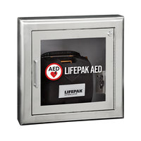 Physio-Control 11220-000077 Semi-Recessed Mount Stainless Steel AED Cabinet with Alarm