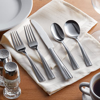Acopa Ridge 18/0 Stainless Steel Heavy Weight Flatware Set with Service for 12 - 60/Pack