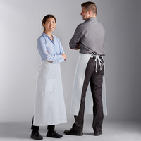 Choice White Poly-Cotton Bistro Apron with 1 Pocket - 34 inchL x 30 inchW
