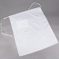 Choice White Bistro Apron with Pocket - 34 inchL x 28 inchW