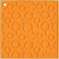 Lodge AS7SKT61 7 inch x 7 inch Orange Skillet Pattern Silicone Trivet / Pot Holder