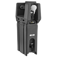 Cambro 4.75 Gallon Black Portable Handwash Station with Soap and Roll Paper Towel Dispenser