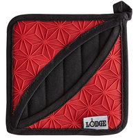 Lodge ASFPH41 6 1/2 inch x 6 1/2 inch Red Silicone and Black Fabric Pot Holder with Pocket