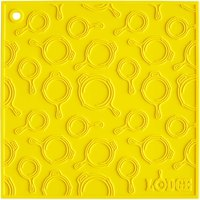 Lodge AS7SKT21 7 inch x 7 inch Yellow Skillet Pattern Silicone Trivet / Pot Holder