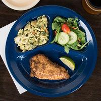 Carlisle 4351235 Dallas Ware 11 inch Cafe Blue 3-Compartment Melamine Plate - 48/Case
