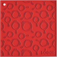 Lodge AS7SKT41 7 inch x 7 inch Red Skillet Pattern Silicone Trivet / Pot Holder