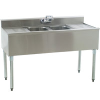 Eagle Group B4C-2-18 Compartment Underbar Sink with Two Drainboards and Splash Mount Faucet - 48 inch